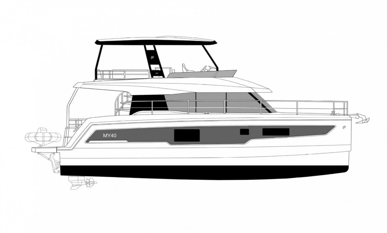 Animated Fountaine Pajot Motor yacht 40 in profile
