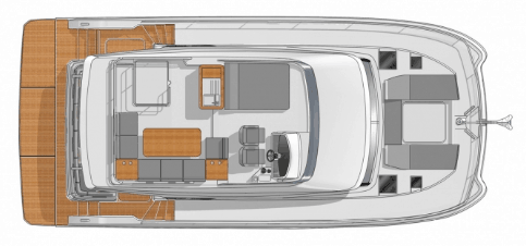Fountaine Pajot Motor yacht 40 from above showing the flybridge and deck