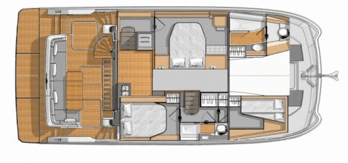 Layout from above showing the lower level of the Fountaine Pajot Motor yacht 40, such as the hulls, cabins and deck