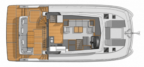 Overview from above showing the galley, saloon and deck of the Fountaine Pajot Motor yacht 40