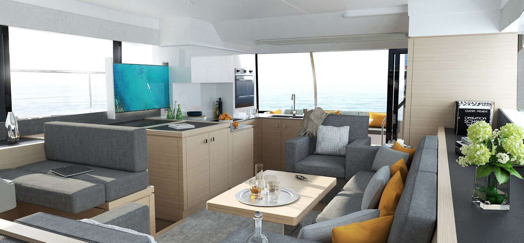 The saloon of a Fountaine Pajot Motor yacht 40 has a hint of homely atmosphere in it with modern design and nice details