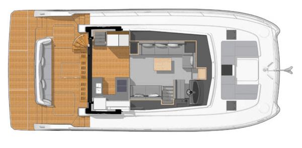 Overview from above showing the saloon and galley of the Fountaine Pajot Motor Yacht 44