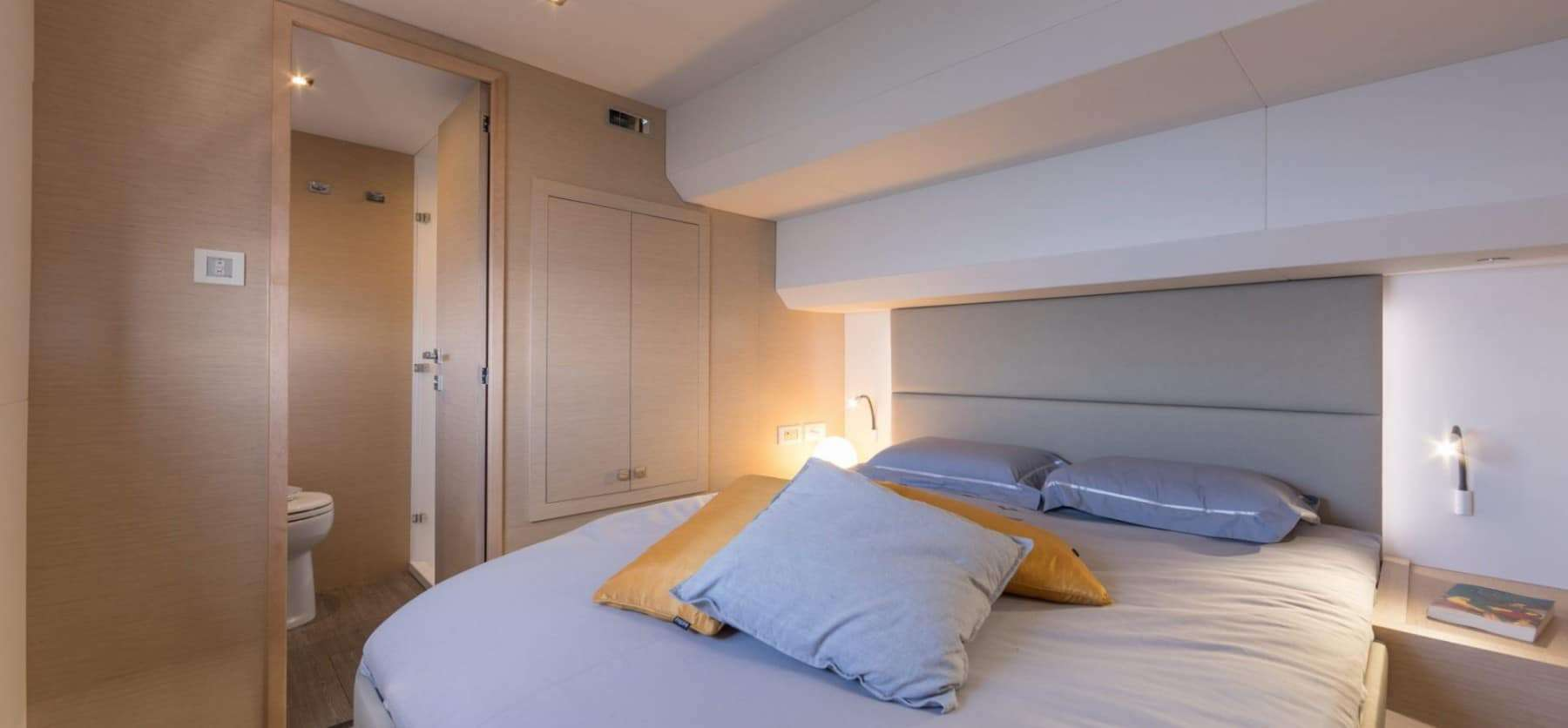 One of the light and cozy cabins within the Fountaine Pajot Motor Yacht 44