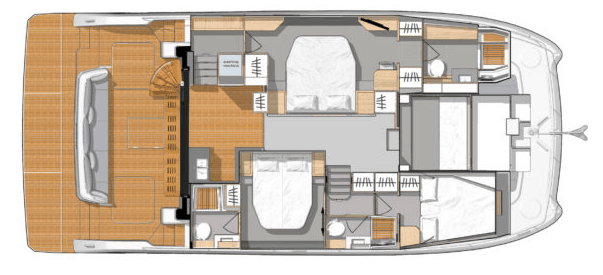 Overview from above showing interior of the Fountaine Pajot Motor Yacht 44 such as the hulls, cabins and galley