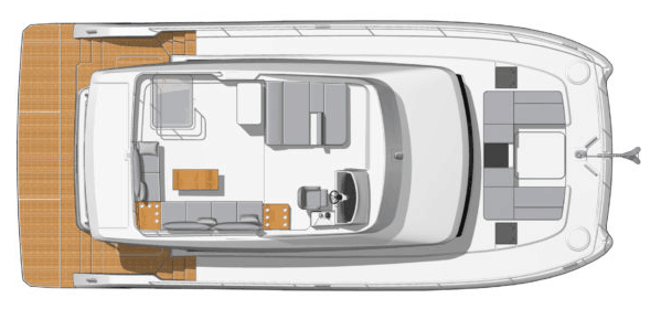 Overview from above showing the deck and flybridge of the Fountaine Pajot Motor Yacht 44