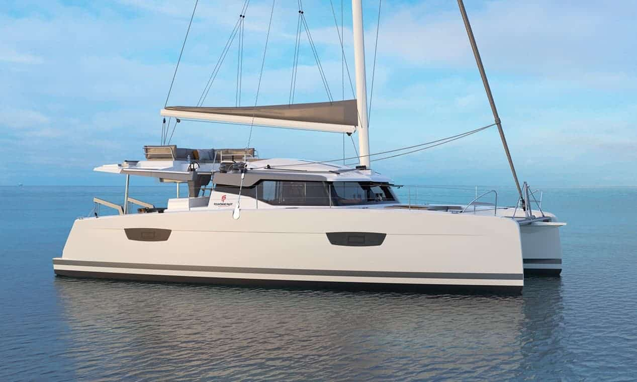 Fountaine Pajot New 45 in profile sitting calmly on stil blue water