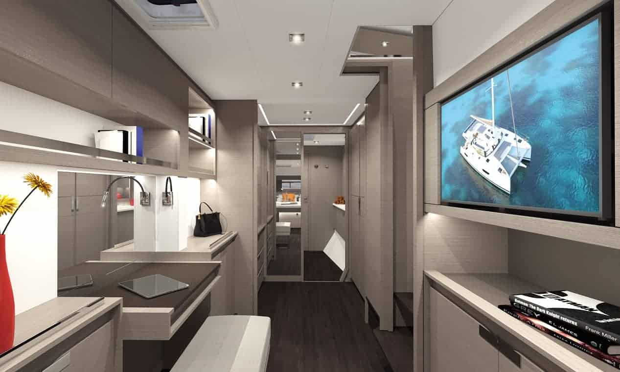 The elegant hallway in one of the hulls in a Fountaine Pajot New 45