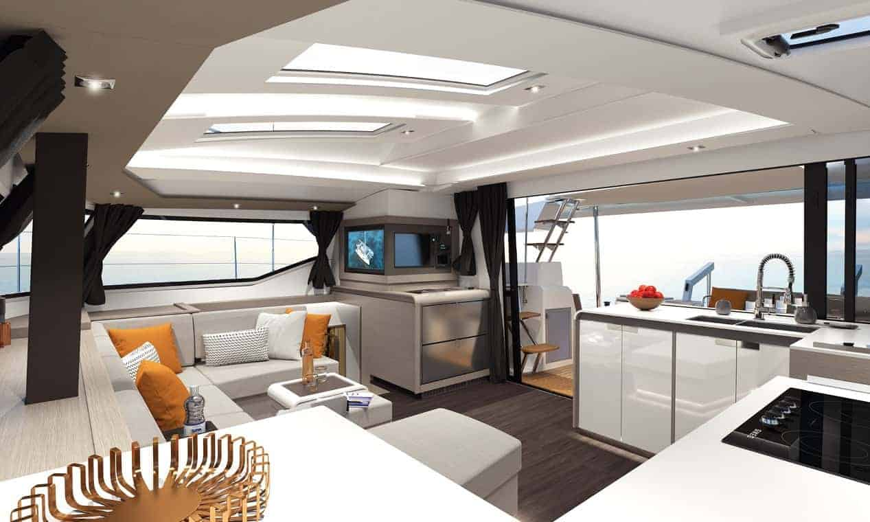 The elegantly modern galley of the Fountaine Pajot New 45 with white interior