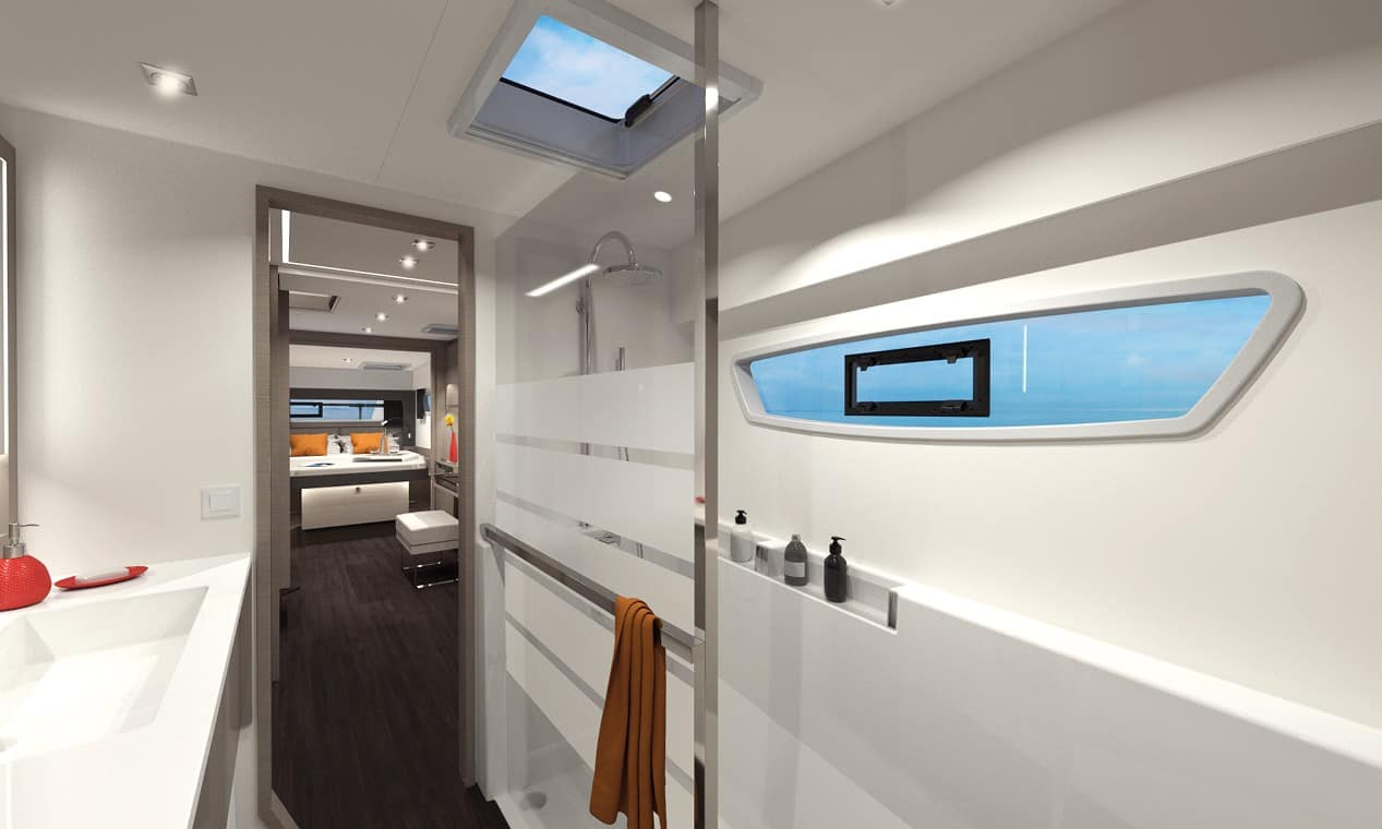 Top modern head of the Fountaine Pajot New 45 with the hallway and cabin in one of the hulls in the background
