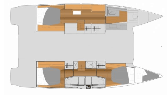Layout from above showing hull options for the Fountaine Pajot New 45