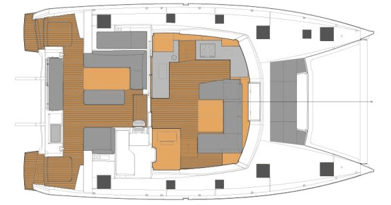 Layout from above showing the deck, cockpit and saloon of the Fountaine Pajot New 45