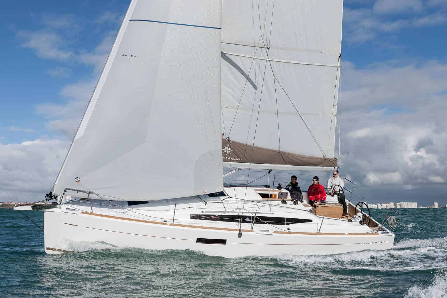 Jeanneau Sun Odyssey 349 in profile sailing with wind in its sail