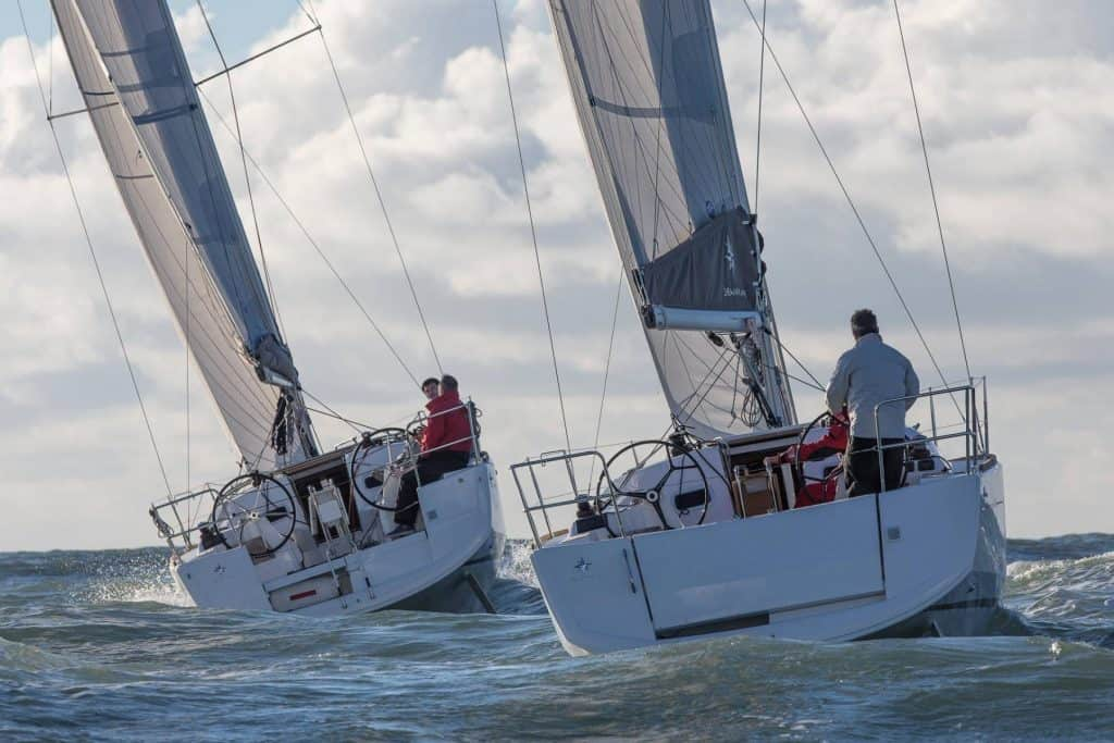 Two Jeanneau Sun Odyssey 349's sailing next to each other