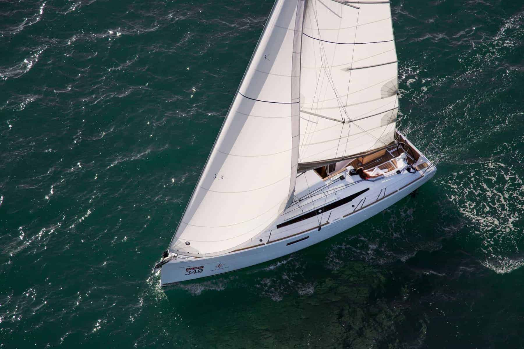 Jeanneau Sun Odyssey 349 with wind in its sail viewed from above
