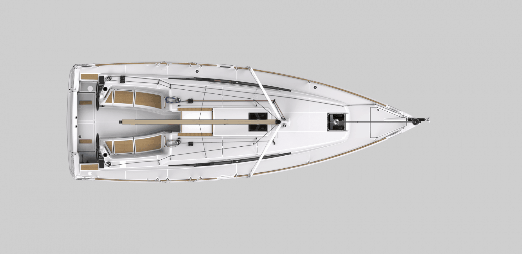 Exterior layout of the Jeanneau Sun Odyssey 349 from above