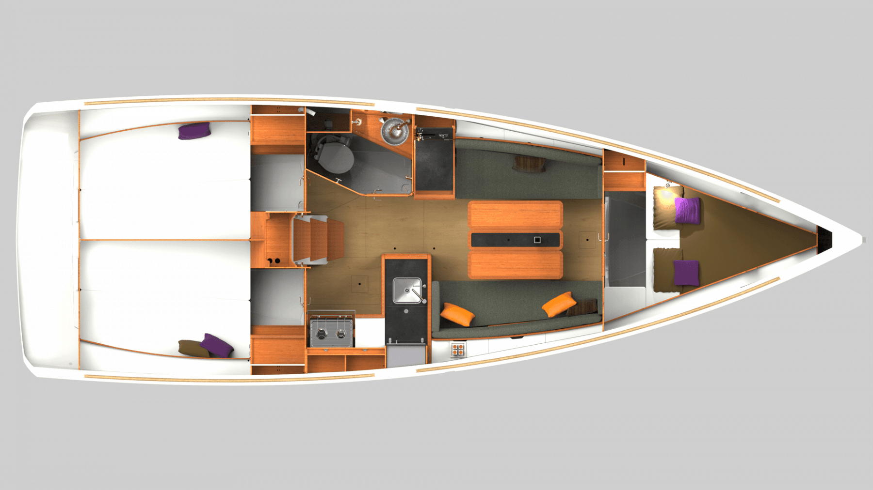 Overview from above showing the interior layout of the Jeanneau Sun Odyssey 349
