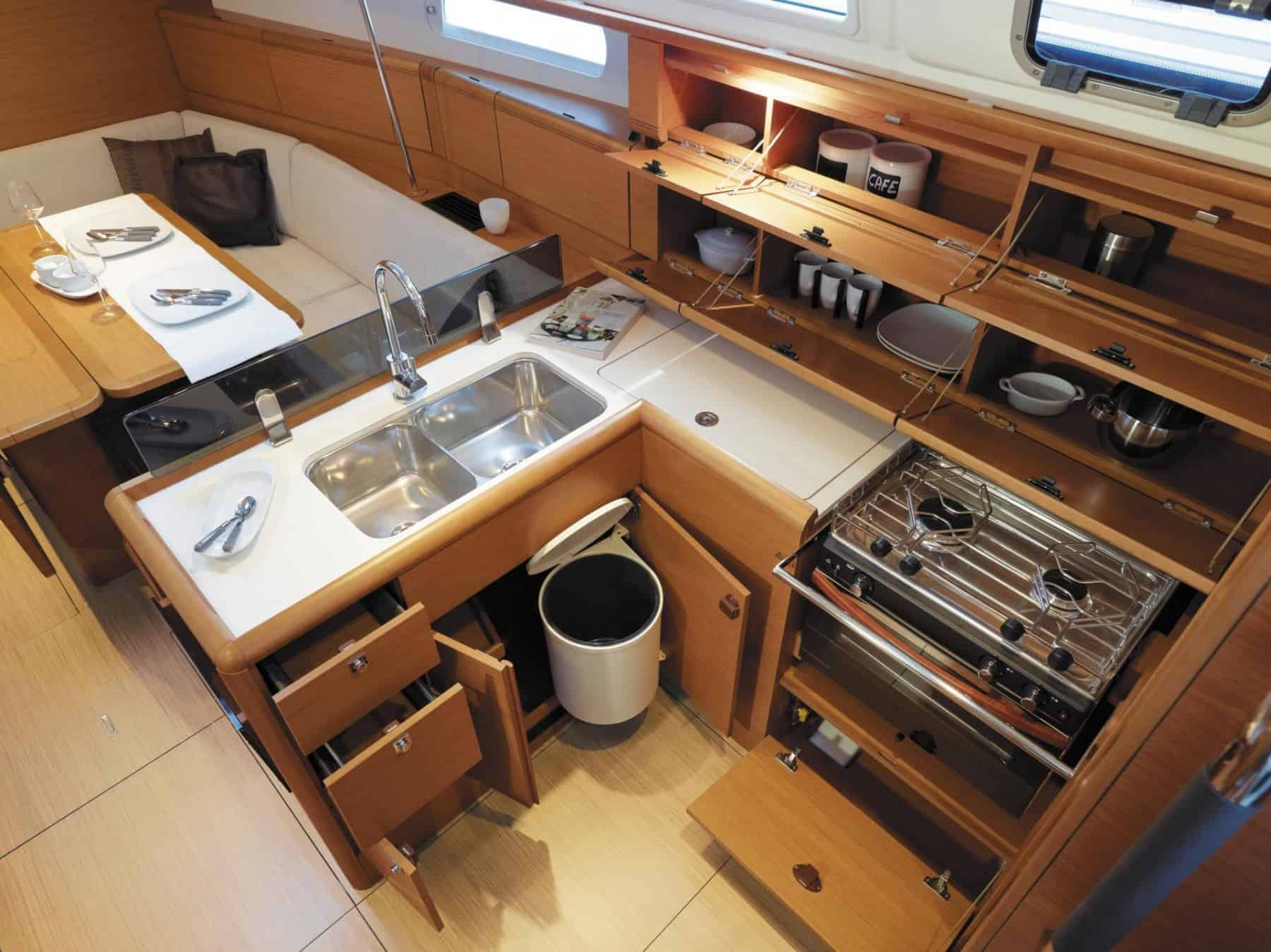The neat galley of Jeanneau Sun Odyssey 389 with great storage possibilities