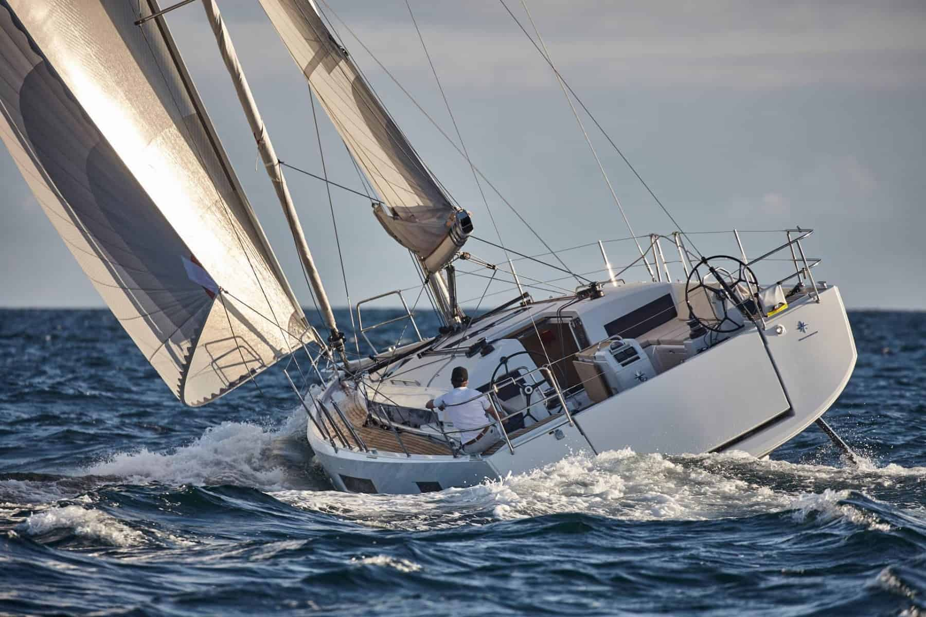 Jeanneau Sun Odyssey 440 from behind with wind in its sail
