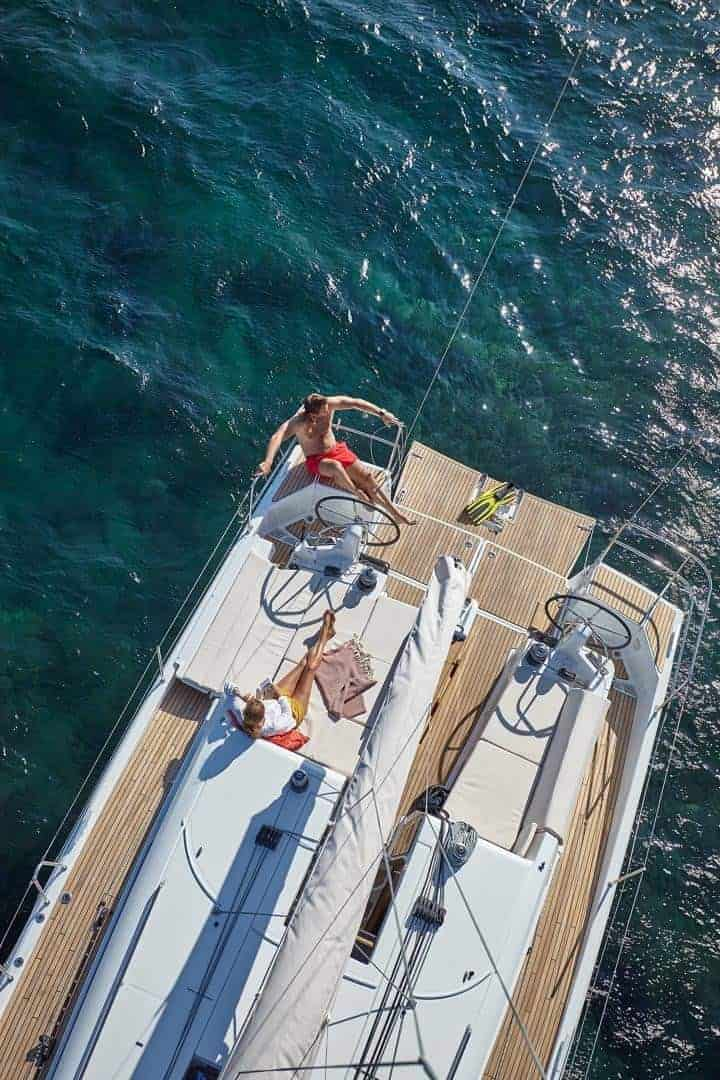 View from above showing the deck of the well designed Jeanneau Sun Odyssey 440