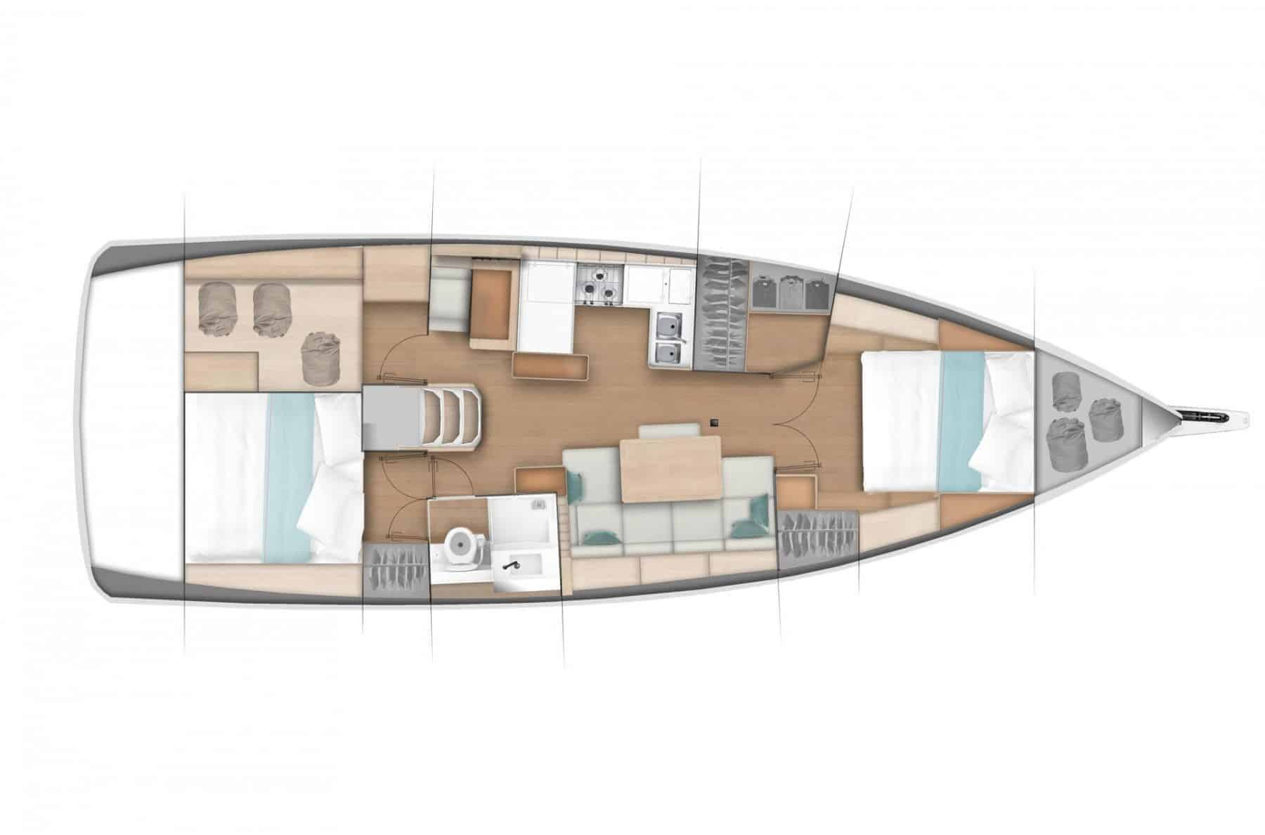 Overview of one of many hull options of the Jeanneau Sun Odyssey 440