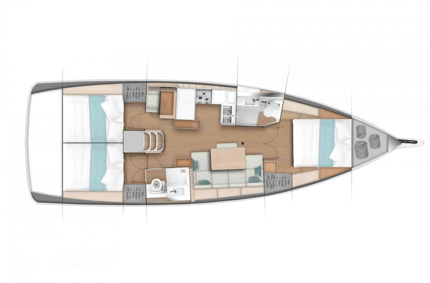 Overview of one of many hull options of the great Jeanneau Sun Odyssey 440