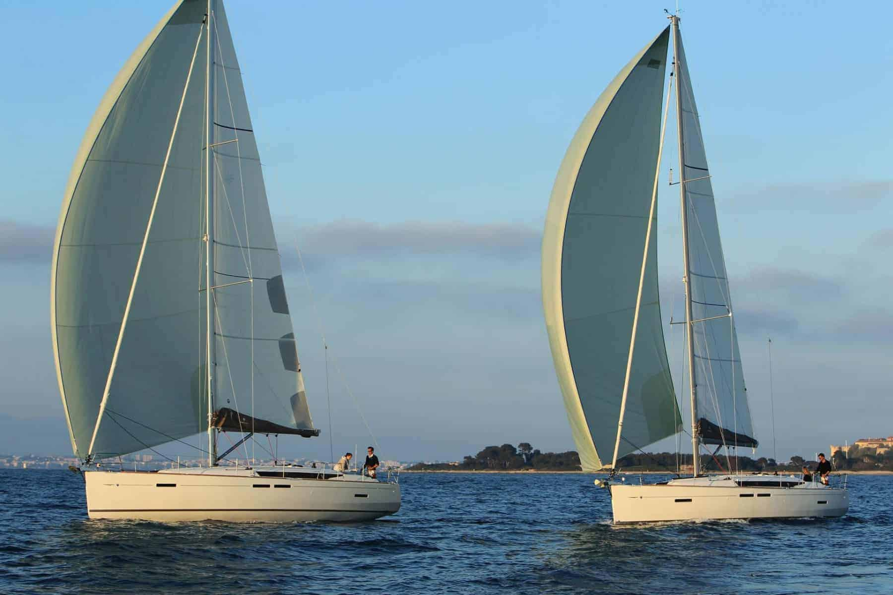 Two Jeanneau Sun Odyssey 449 sailing together away from the coast