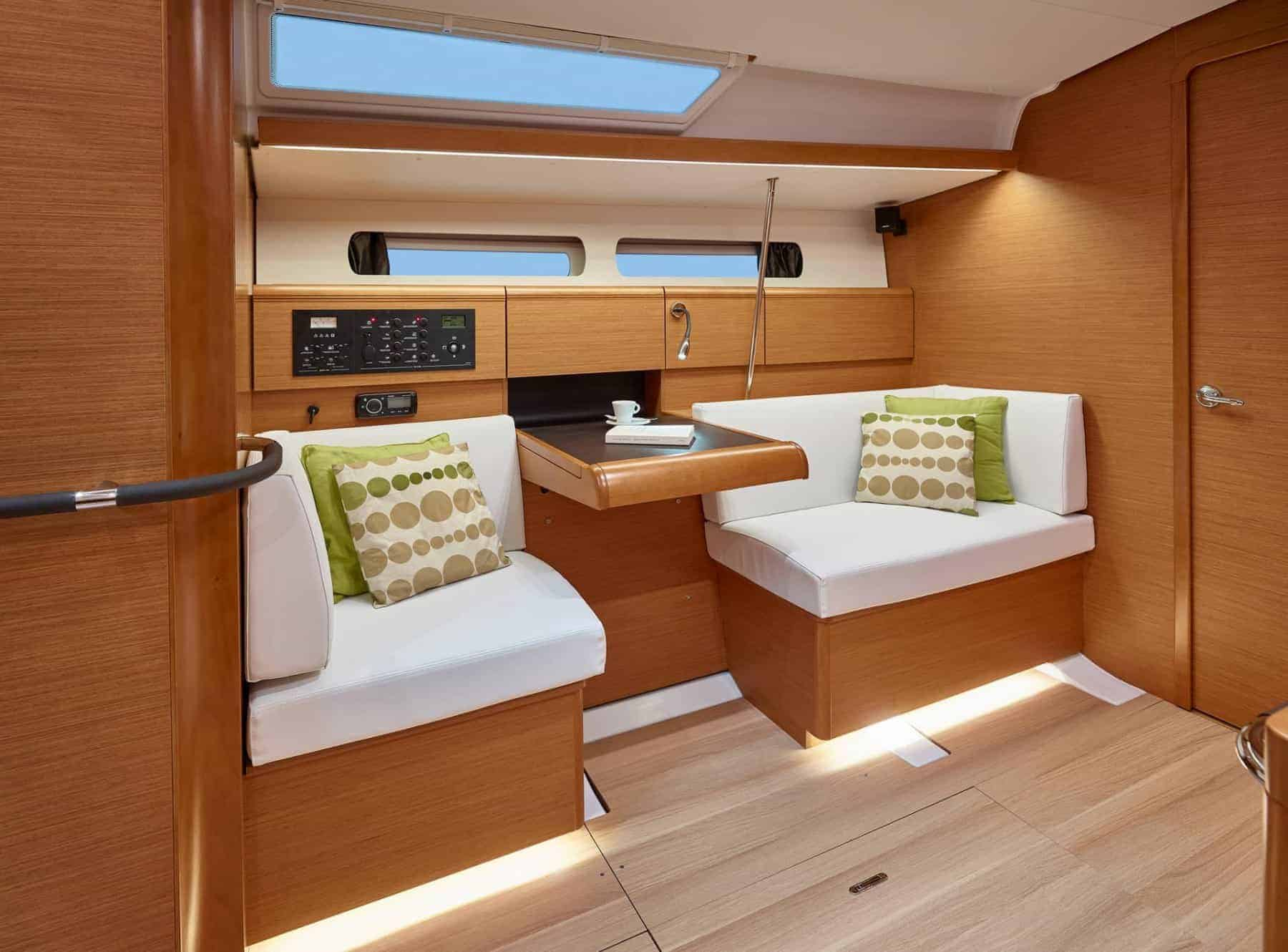 Cosy couches in a well designed saloon of the Jeanneau Sun Odyssey 449