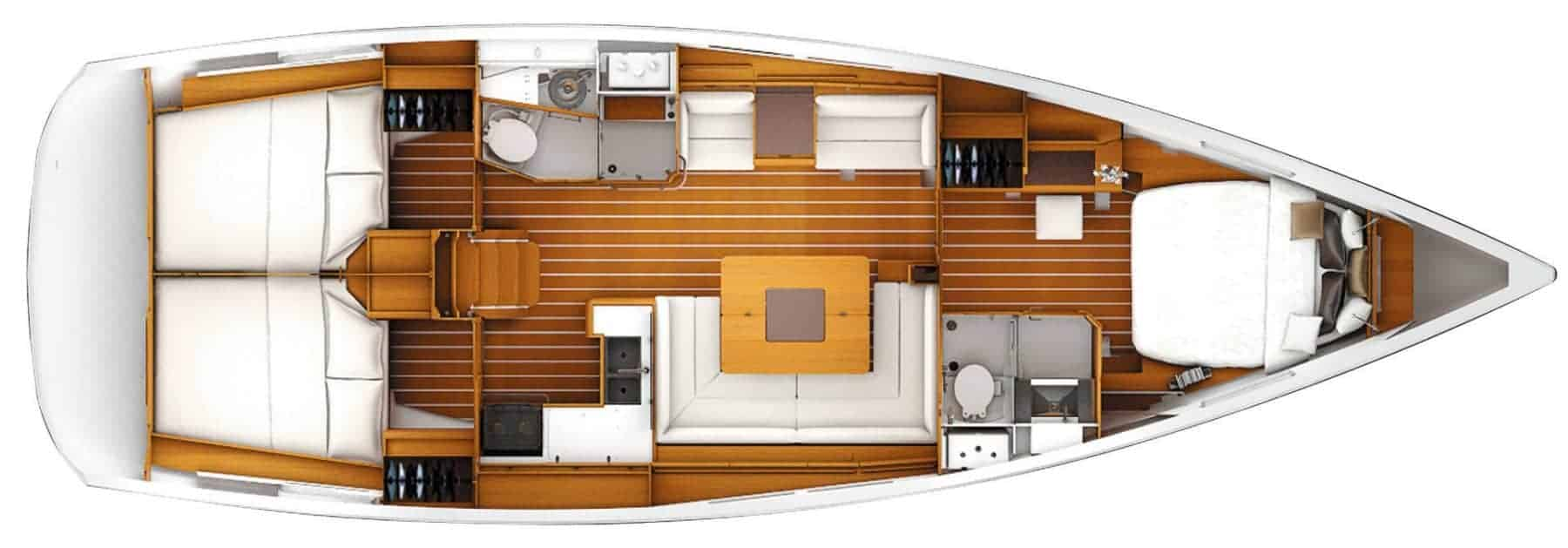 View from above showing the interior of the Jeanneau Sun Odyssey 449