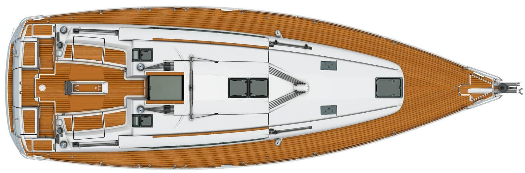 View from above showing the exterior of Jeanneau Sun Odyssey 449