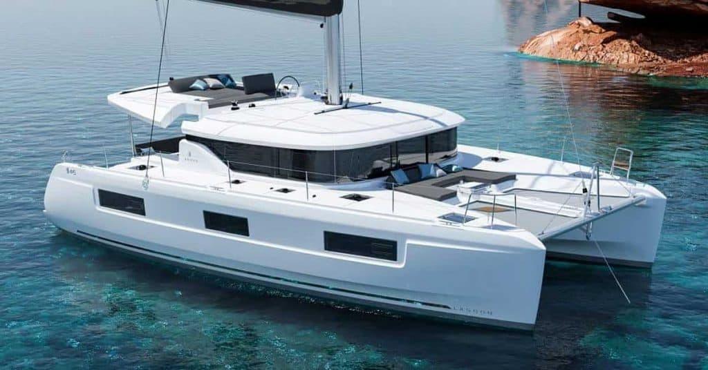 A Lagoon 46 yacht in the calm ocean
