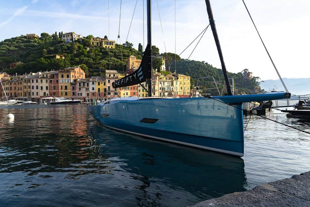 The amazing new Eleva The Fifty docked at relaxing italian dock