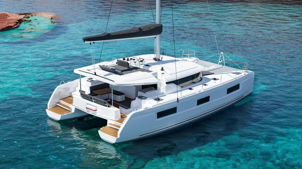 The luxurious family yacht Lagoon 46 in water.