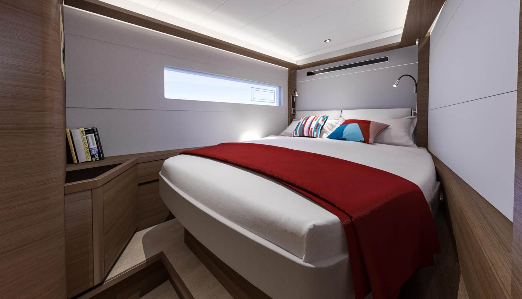 The interior design of the majestic owners cabin of a Lagoon 46 yacht