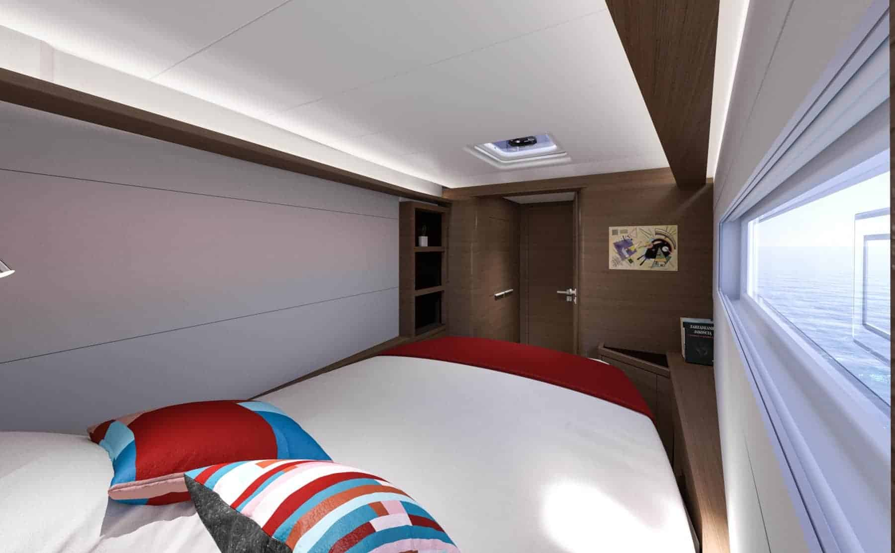 The soothing interior design of a regular cabin in the Lagoon 46 yacht