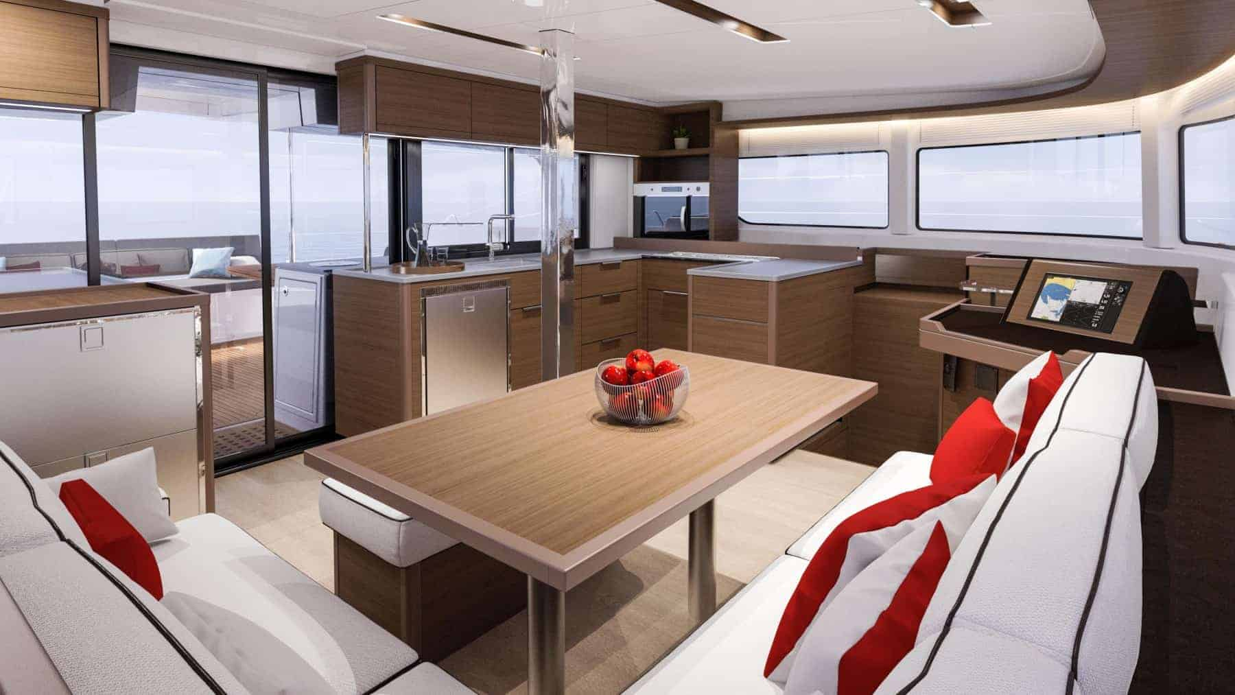 The amazing interior design of the saloon and galley of the Lagoon 46