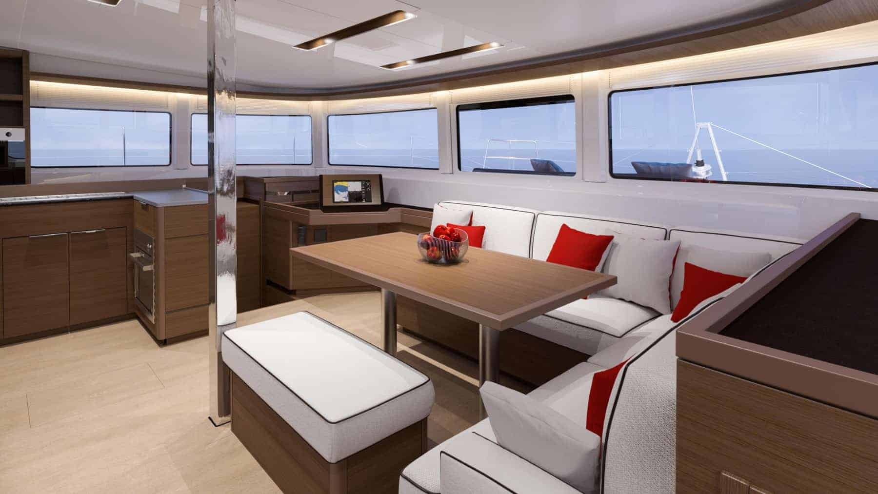 The relaxing interior design of the Saloon of a Lagoon 46 yacht