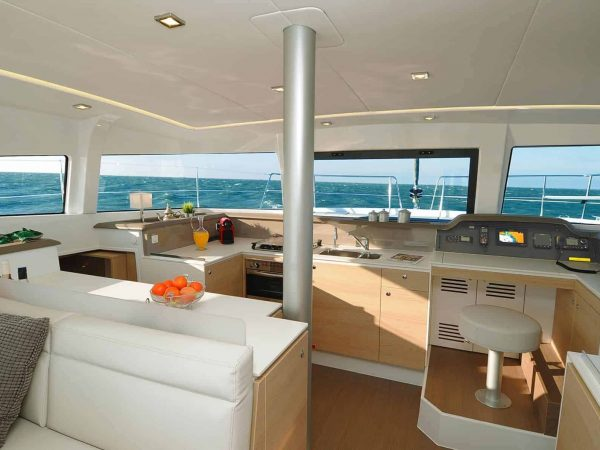 Overview of the delightful galley with the control panel next to it