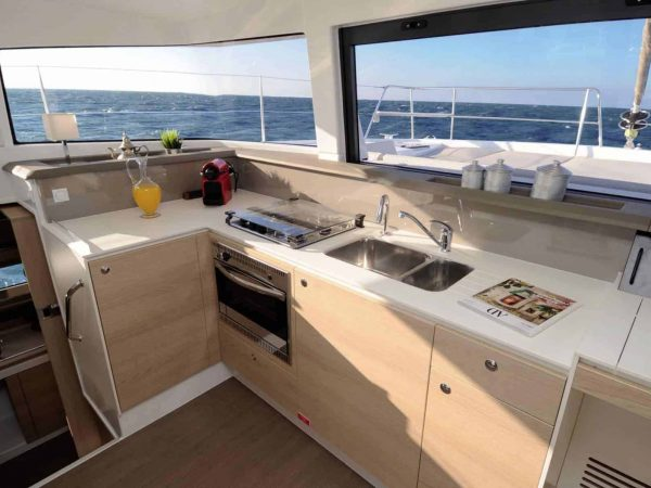 Galley of the Bali 4.1 with beautiful sink, stove