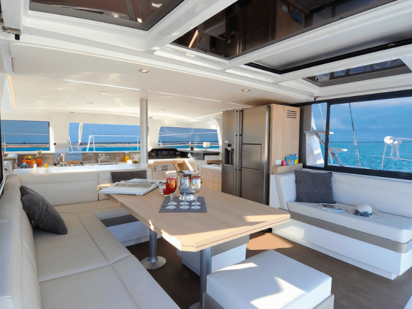 The spacious and elegant cockpit of the Bali 4.3 Loft with white and wooden interior