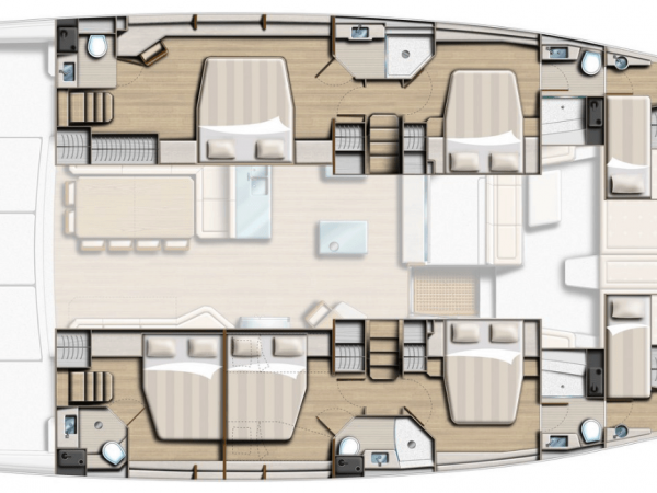 Layout from above showing different hull options for the Bali 5.4