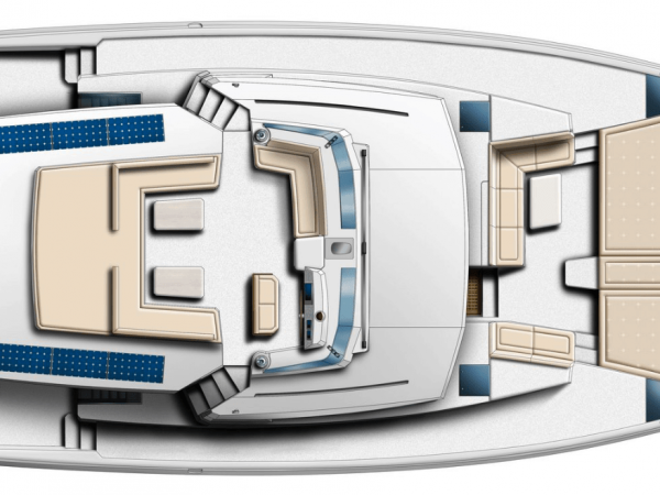 Layout of the Bali 5.4 from above showing deck and flybridge with solar panels on it