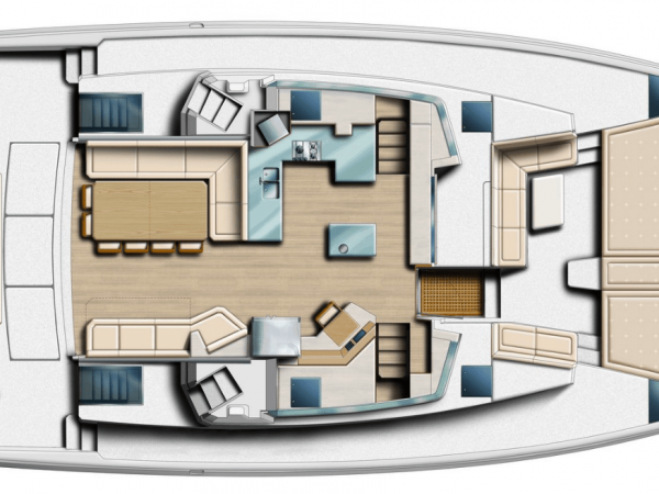 Layout from above showing the saloon, deck and cockpit of the Bali 5.4