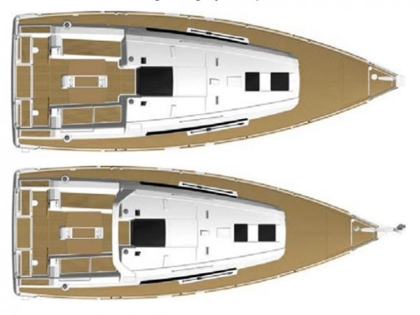 Deck layout of the Beneteau Oceanis 38.1