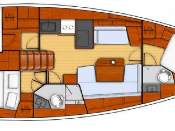 Cabins layout plan of te Beneteau Oceanis 41.1