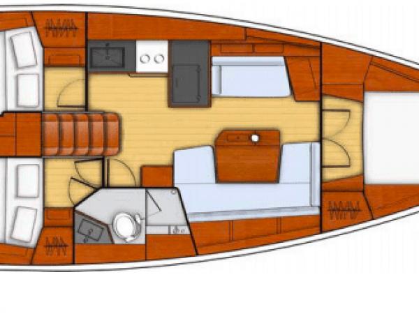 Alternate layout plan of the Beneteau Oceanis 41.1