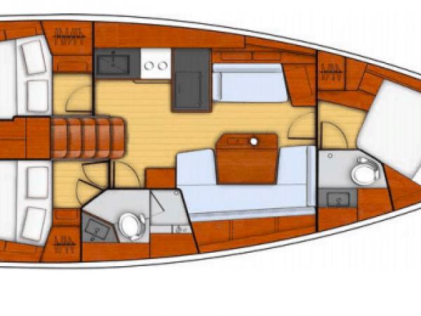 Layout plan of the Beneteau Oceanis 41.1