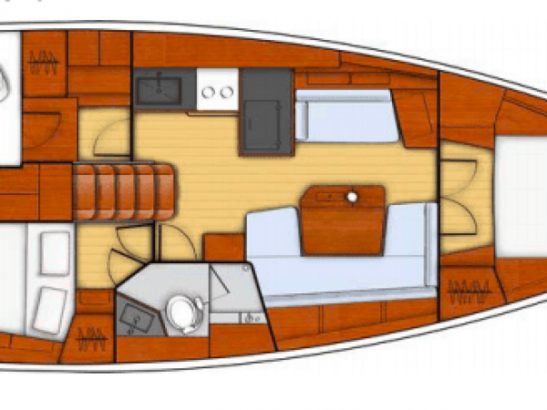Different layout plan of cabins of the Beneteau Oceanis 41.1