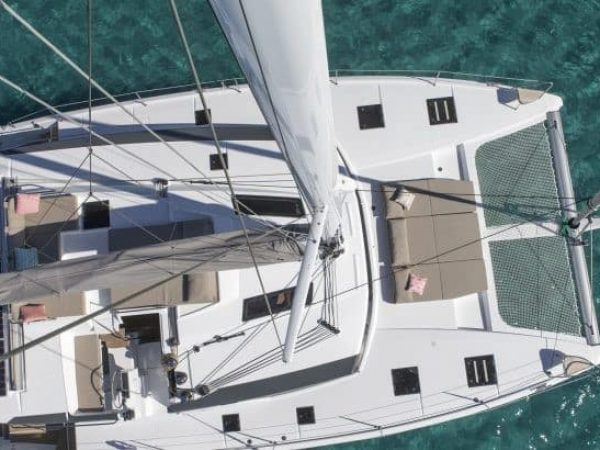 View from the mast down to the Fountaine Pajot Saona 47 showing the layout from above