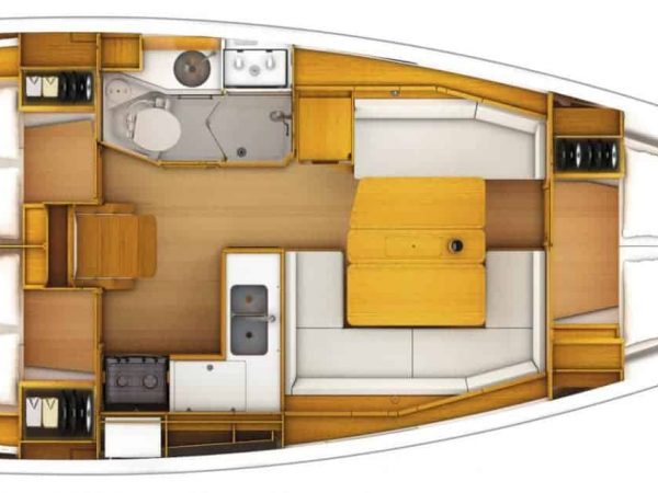 View from above showing layout options for a Jeanneau Sun Odyssey 389