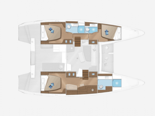 3 cabin layout plan with a massive owners cabin
